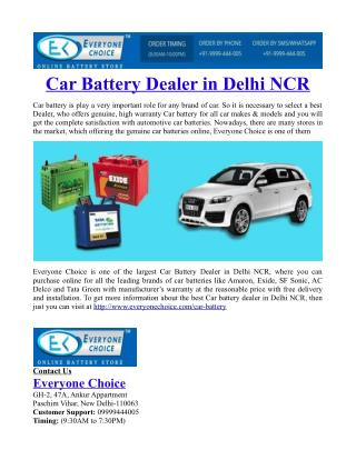 Car Battery Dealer in Delhi NCR