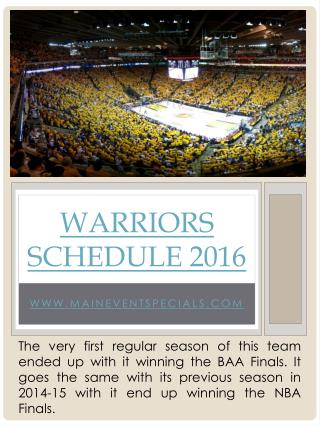 Warriors Schedule 2016