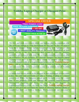 Toshiba Laptop Charger at Cheapest Price