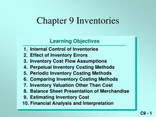 Chapter 9 Inventories