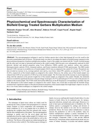 Physicochemical and Spectroscopic Characterization of Biofield Energy Treated Gerbera Multiplication Medium
