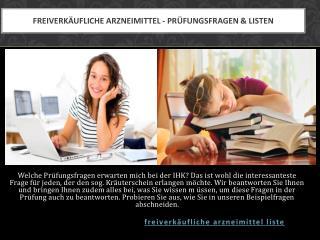 Freiverkäufliche Arzneimittel  - Prüfungsfragen & Listen