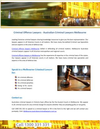 Criminal Offence Lawyers - Australian Criminal Lawyers Melbourne