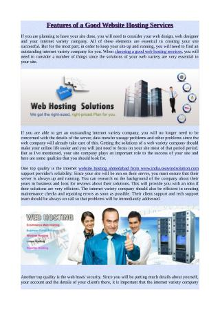 Features of a Good Website Hosting Services