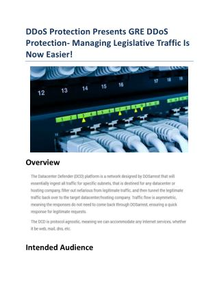 GRE DDoS Protection - Managing Legislative Attacks!