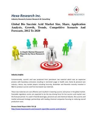 Global Bio Succinic Acid Market Size, Share, Growth, Trends, Scenario And Forecasts, 2012 To 2020
