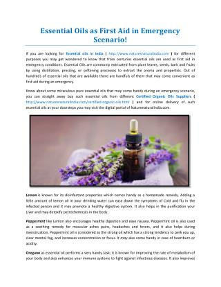 Essential Oils as First Aid in Emergency Scenario!