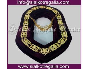 Masonic regalia Past master chain collar Gold