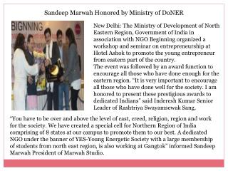 Sandeep Marwah Honored by Ministry of DoNER