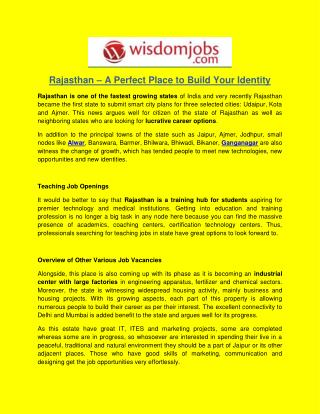 Rajasthan – A Perfect Place to Build Your Identity
