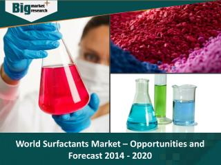 World Surfactants Market - Opportunities and Forecast 2014 - 2020 - Big Market Research