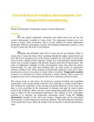 Use web-based wireless thermometer for temperature monitoring
