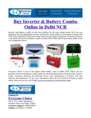 Buy Inverter & Battery Combo Online in Delhi NCR