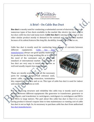 Cable Bus Duct Manufacturers Suppliers India