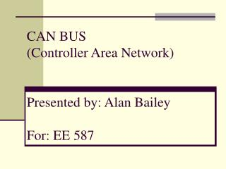 CAN BUS Controller Area Network   Presented by: Alan Bailey  For: EE 587