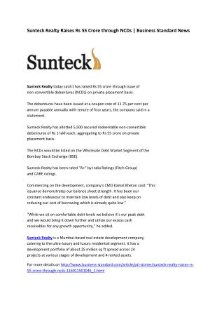 Sunteck Realty raises Rs 55 crore through NCDs | Business Standard News