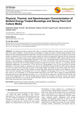 Physical, Thermal, and Spectroscopic Characterization of Biofield Energy Treated Murashige and Skoog Plant Cell Culture