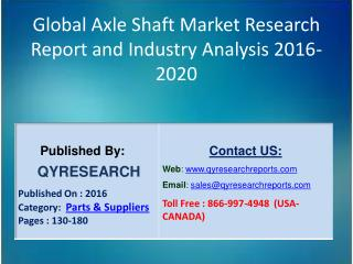 Global Axle Shaft Market 2016 Industry Insights, Study, Forecasts, Outlook, Development, Growth, Overview and Demands