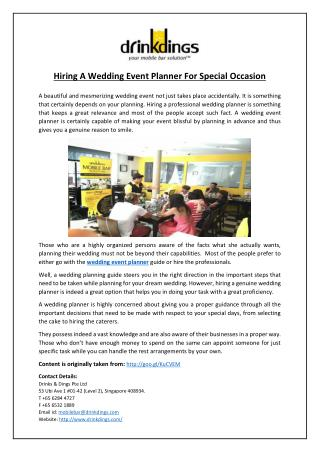 Hiring A Wedding Event Planner For Special Occasion