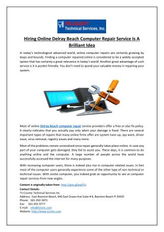 Hiring Online Delray Beach Computer Repair Service Is A Brilliant Idea