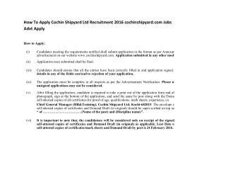 How to Apply Cochin Shipyard Ltd Recruitment 2016 Cochinshipyard.com Jobs Advt Apply