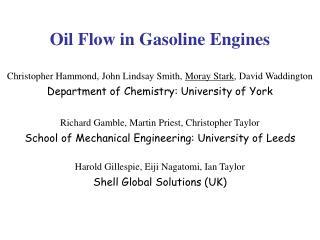 Oil Flow in Gasoline Engines