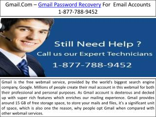 Gmail Support - 1-877-788-9452 Gmail Password Recovery