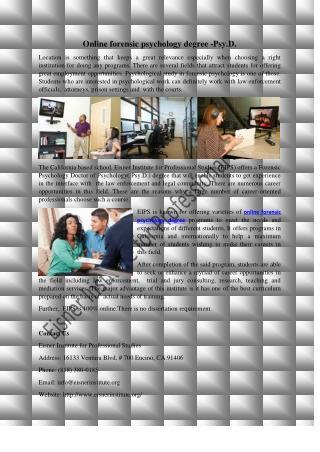 Online forensic psychology degree -Psy.D.