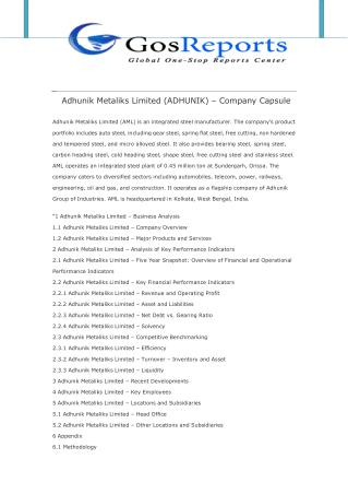 Adhunik Metaliks Limited (ADHUNIK) � Company Capsule