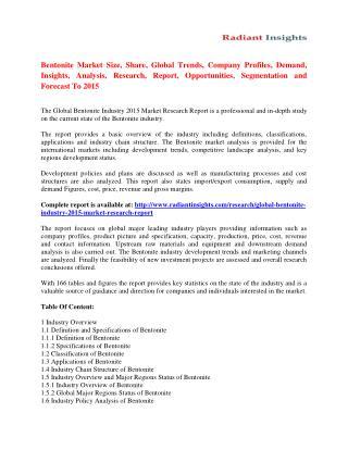 Bentonite Market Strategies And Forecast 2015