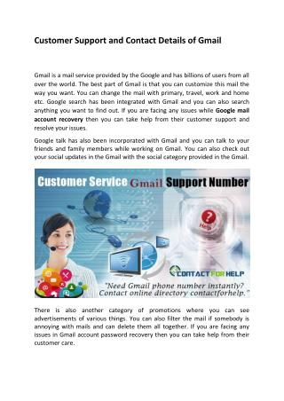 Customer Support and Contact Details of Gmail