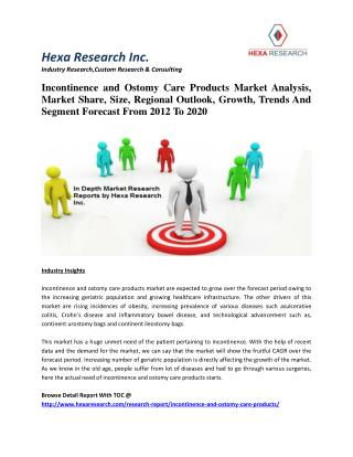 Incontinence and Ostomy Care Products Market Share, Growth, Trends And Segment Forecast, 2012-2020