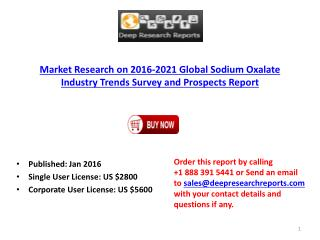 Sodium Oxalate Industry: Global Trend, Profit, and Key Manufacturers Analysis Report