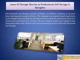 Leave All Storage Worries to Professional Self-Storage in Abingdon