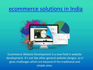 ecommerce solution in India