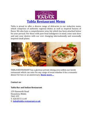 Tabla Restaurant Menu