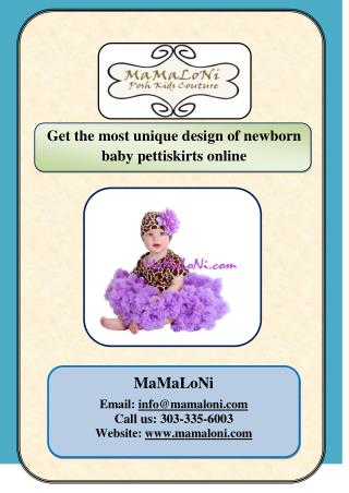 Get the most unique design of newborn baby pettiskirts online