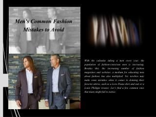 Men's common fashion mistakes to avoid