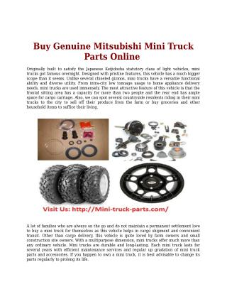 Buy Genuine Mitsubishi Mini Truck Parts Online