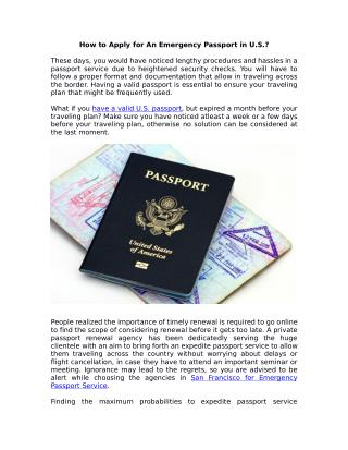 Who can provide emergency passport services in San Francisco?