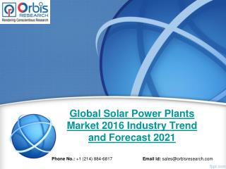 Global Solar Power Plants Industry Report Key Manufacturers Analysis 2016