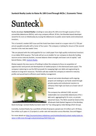 Sunteck Realty Looks to Raise Rs 100 crore Through NCDs | Economic Times