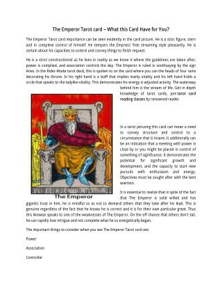 Know about The Emperor, Tarot Card Reading Courses