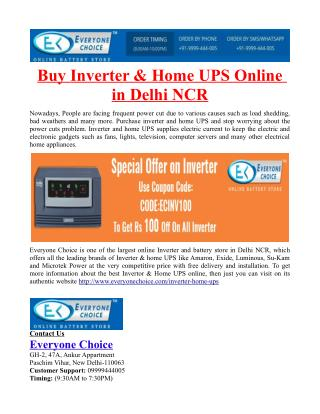 Buy Inverter & Home UPS Online in Delhi NCR