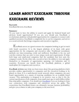Learn about ExecRank through ExecRank Reviews