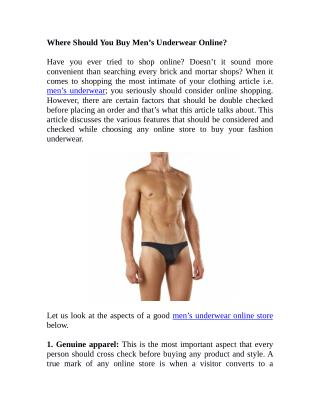 Where Should You Buy Men's Underwear Online?