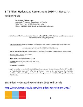 BITS Pilani Hyderabad Recruitment 2016 – Jr Research Fellow Posts