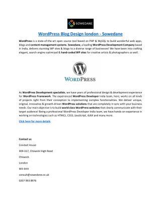 WordPress Blog Design london - Sowedane