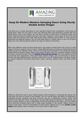 Hang On Modern Western Swinging Doors Using Sturdy Double Action Hinges