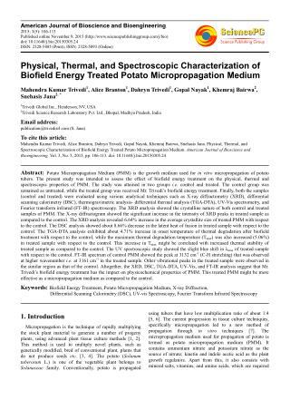 Biofield Energy Effect on Potato Micropropagation Medium